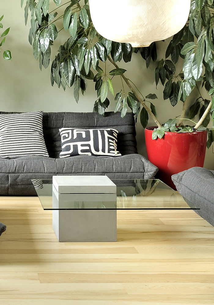 Coffee Table With Glass Top Lyon Beton Collection