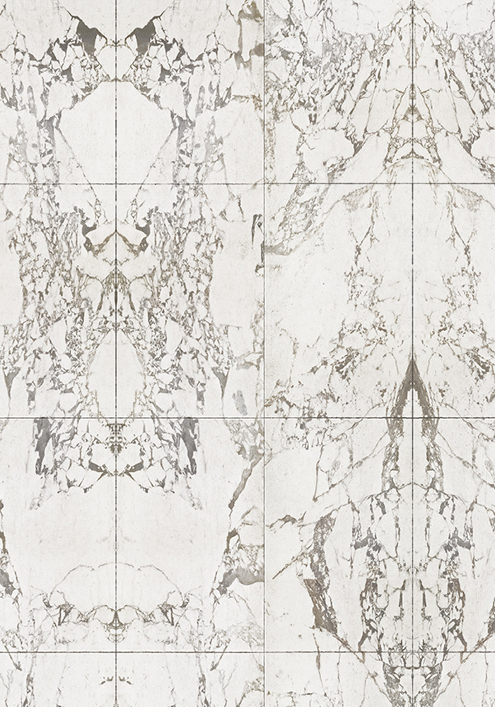 phm 41b white marble tiles mirrored wallpaper by piet hein eek