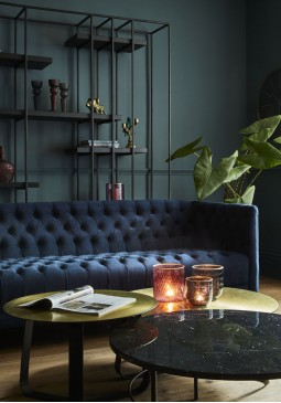 Libra Arya Blue Velvet Button Detail Sofa