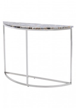 Libra Agate Crescent Console Table On Nickle Frame
