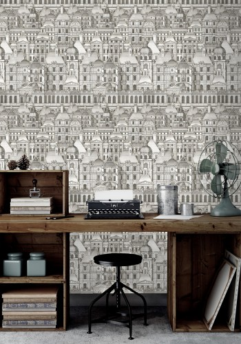 The Louvre Wallpaper Features A Monochrome Collage Of French Baroque Architectural Elements This Wa