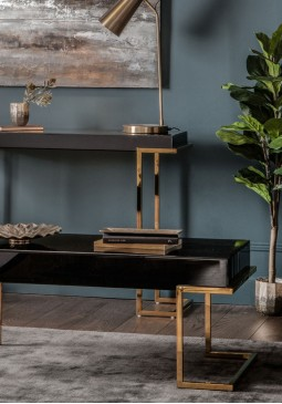 DCUK Delray Black Mirrored Coffee Table