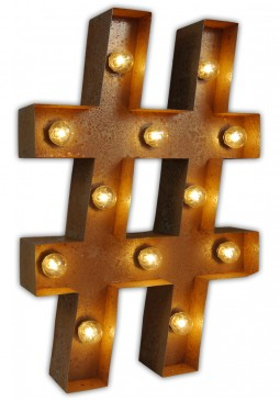 Vintage Letter Light Hashtag - Urban Industrialists