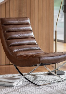 DCUK Cassino Lounger Brown Leather