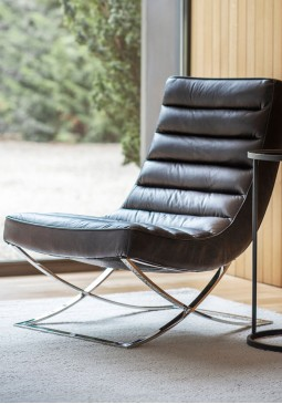 DCUK Cassino Lounger Black Leather